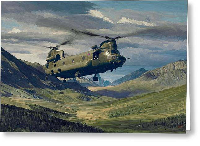 Raf Chinook Ch-47 On Exercise Greeting Card by Nop Briex