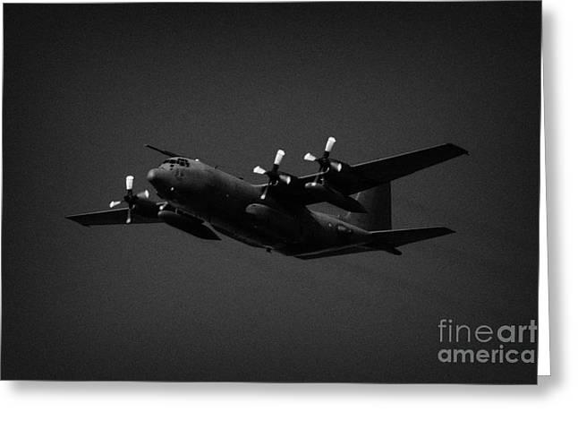 Raf Hercules Flies In Blue Sky Heavy Transport Greeting Card by Joe Fox