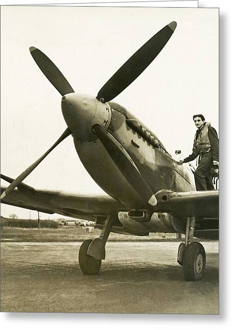 Raf Pilot With Spitfire Plane Greeting Card