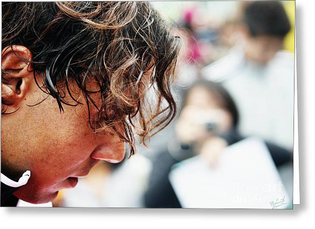 Rafael Nadal From Up Close Greeting Card by Nishanth Gopinathan