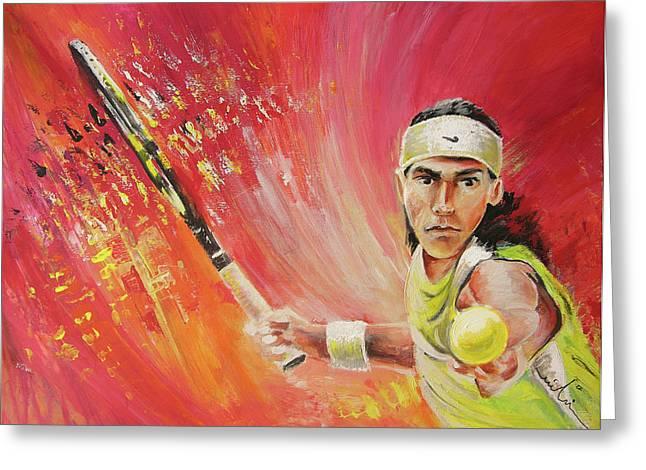 Rafael Nadal Greeting Card by Miki De Goodaboom