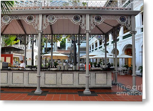 Raffles Hotel Courtyard Bar And Restaurant Singapore Greeting Card