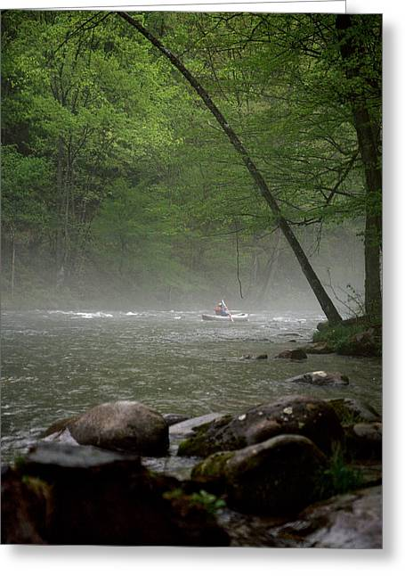 Rafting Misty River Greeting Card by Lawrence Boothby