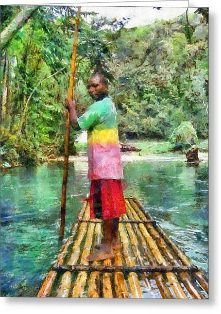 Rafting The Martha Brae Greeting Card