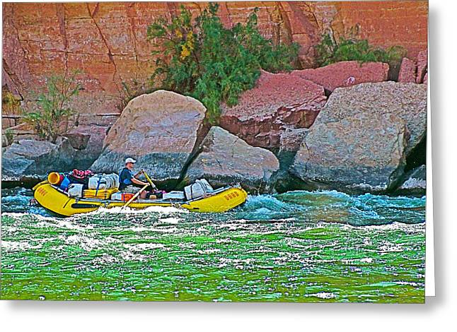 Rafting Through Pariah Riffle Near Lee's Ferry In Glen Canyon National Recreation Area-arizona  Greeting Card by Ruth Hager
