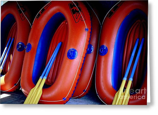 Greeting Card featuring the photograph Rafts Waiting by Ranjini Kandasamy