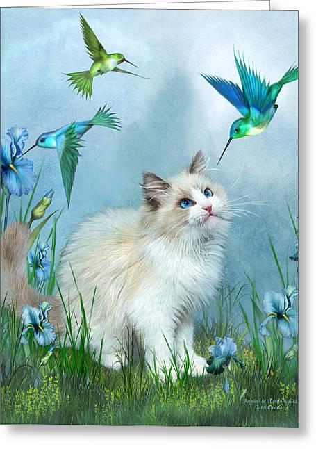 Ragdoll Kitty And Hummingbirds Greeting Card by Carol Cavalaris