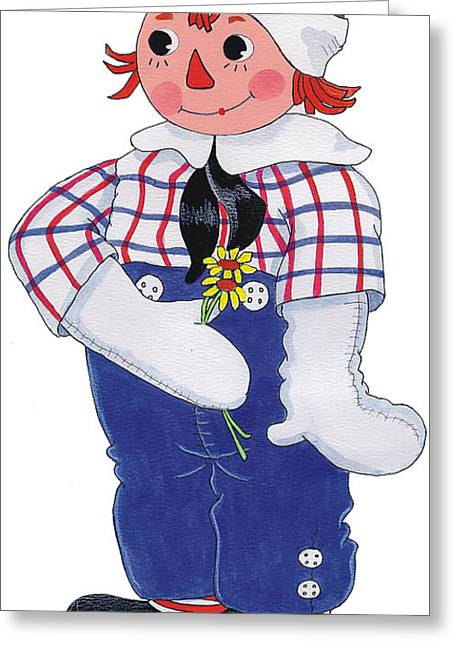 Raggedy Andy Greeting Card by Sally  Evans