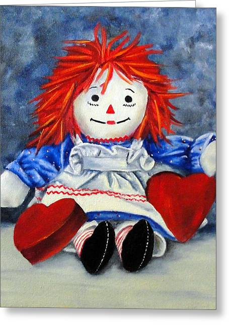 Raggedy Ann With Hearts Greeting Card by Helen Eaton