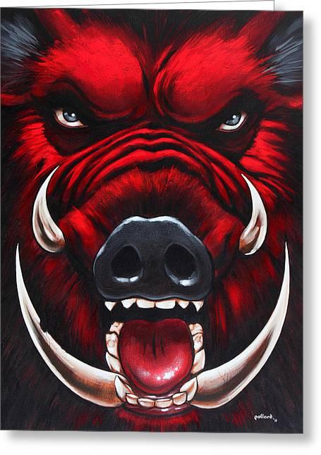 Raging Hog Greeting Card by Glenn Pollard