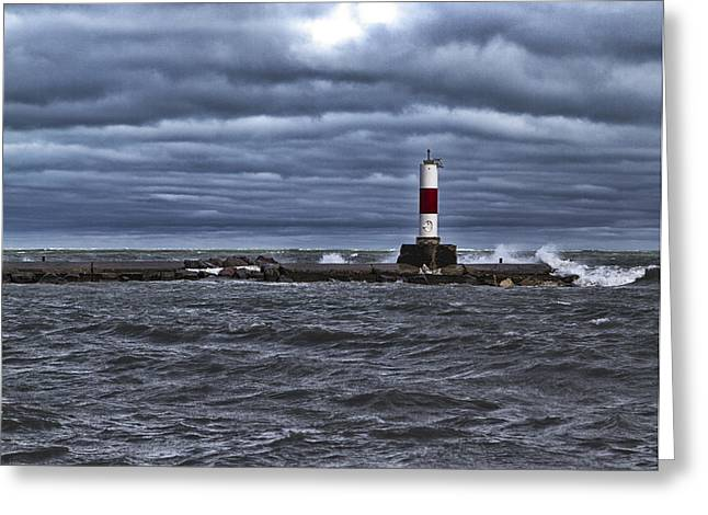 Greeting Card featuring the photograph Raging Lake Michigan  by Ricky L Jones