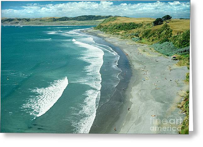 Raglan Beach New Zealand Greeting Card by Bruce Stanfield