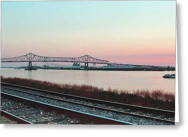 Greeting Card featuring the photograph Rail Along Mississippi River by Charlotte Schafer