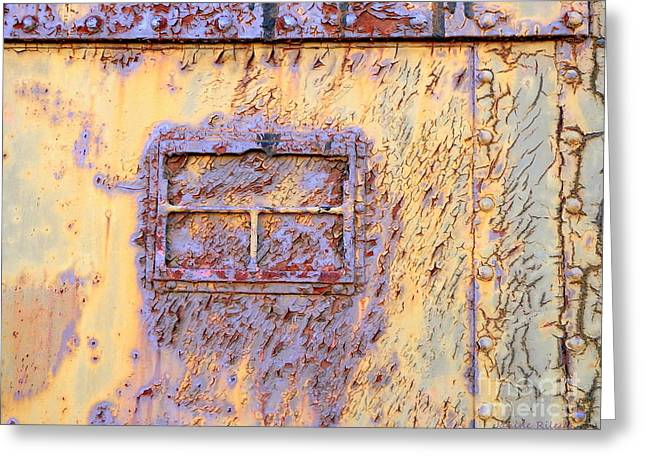 Rail Rust - Abstract - Lavender Window View  Greeting Card by Janine Riley
