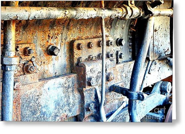 Rail Rust - Locomotive - Nuts And Bolts Greeting Card by Janine Riley