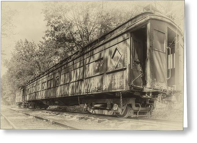 Railcar And Caboose Greeting Card