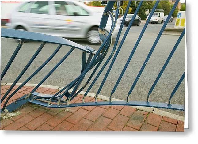 Railings Crushed By A Car Accident Greeting Card by Ashley Cooper