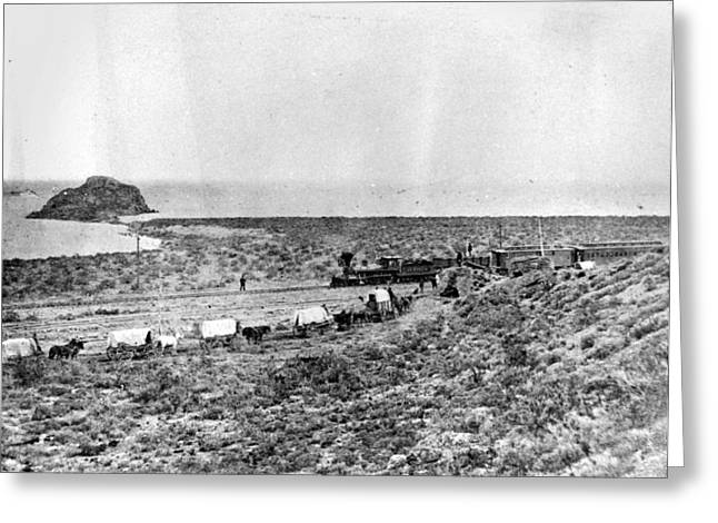 Railroad And Wagon Train Greeting Card by Granger