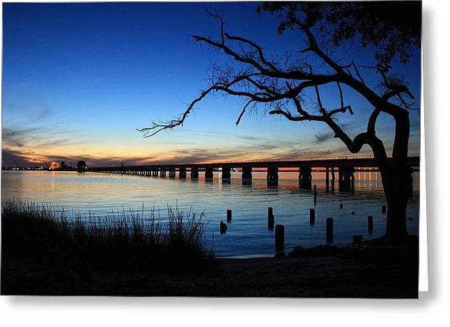 Railroad Bridge Sunset Greeting Card by Steve Phillips