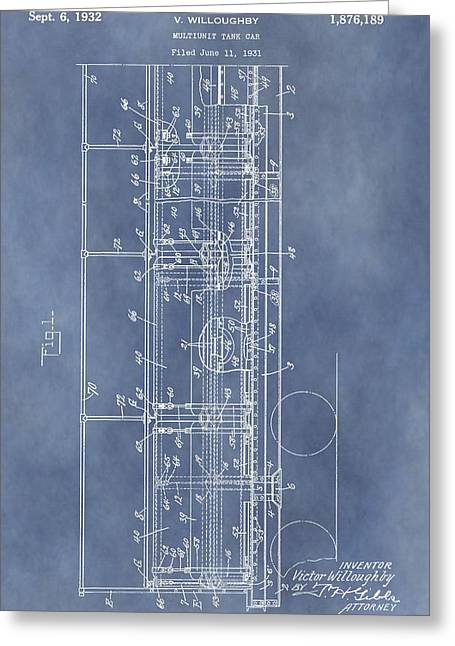 Railroad Car Patent Greeting Card by Dan Sproul