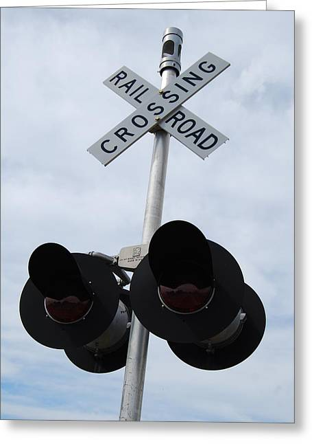 Greeting Card featuring the photograph Railroad Crossing by Ramona Whiteaker