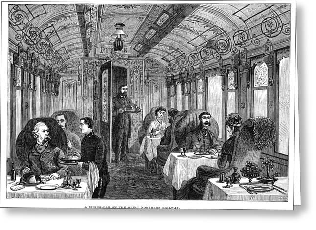 Railroad Dining Car, 1879 Greeting Card
