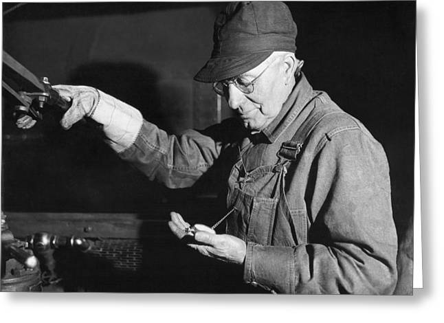 Railroad Engineer Checks Watch Greeting Card by Underwood Archives