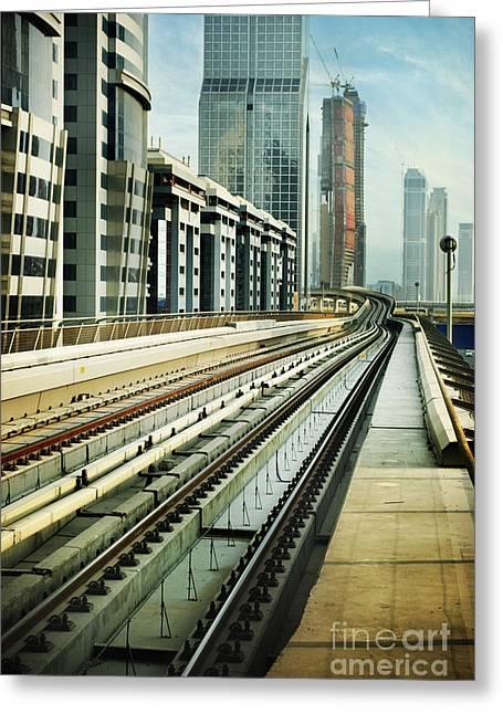 Railroad In Dubai Greeting Card by Jelena Jovanovic