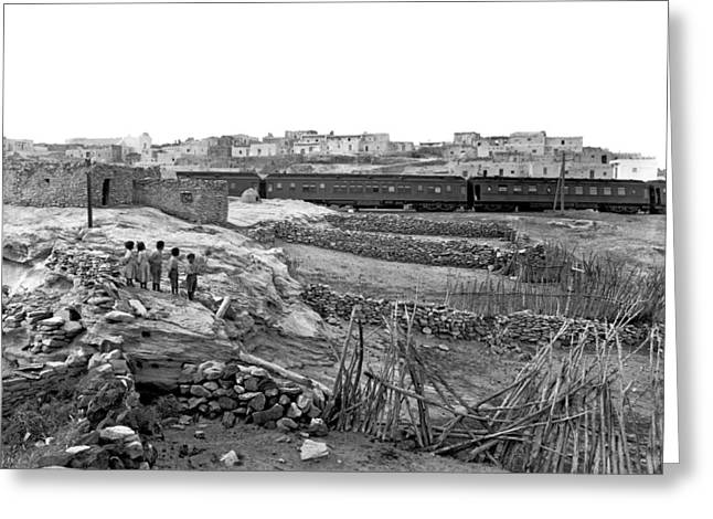 Railroad In Laguna Pueblo Greeting Card by Underwood Archives