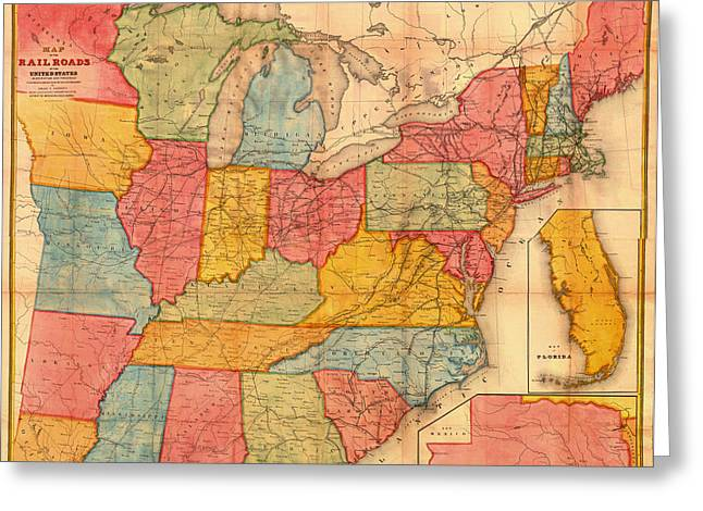 Railroad Map Of The United States 1852 Greeting Card