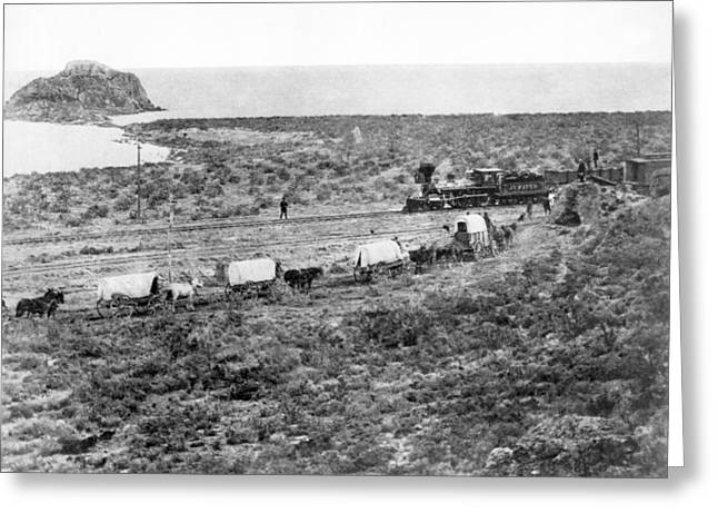 Railroad Meets Wagon Train Greeting Card