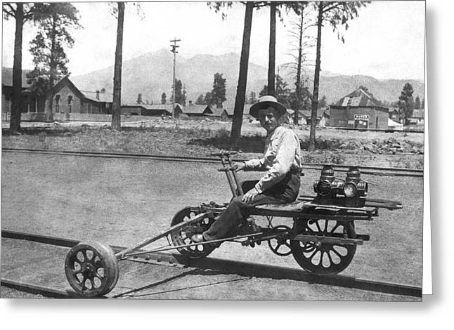 Railroad Outrigger Bike Greeting Card by Underwood Archives