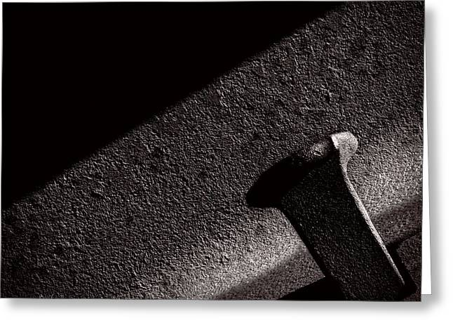 Railroad Spike And Rail Greeting Card by Bob Orsillo