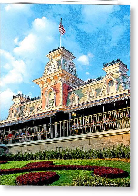 Railroad Station Magic Kingdom Walt Disney World Greeting Card