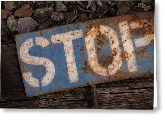 Railroad-stop Sign Greeting Card by Joe Gemignani