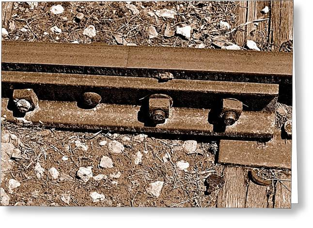 Railroad Track Greeting Card by Andres LaBrada
