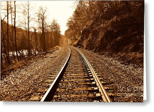 Railroad Track Greeting Card by Cheryl Boutwell