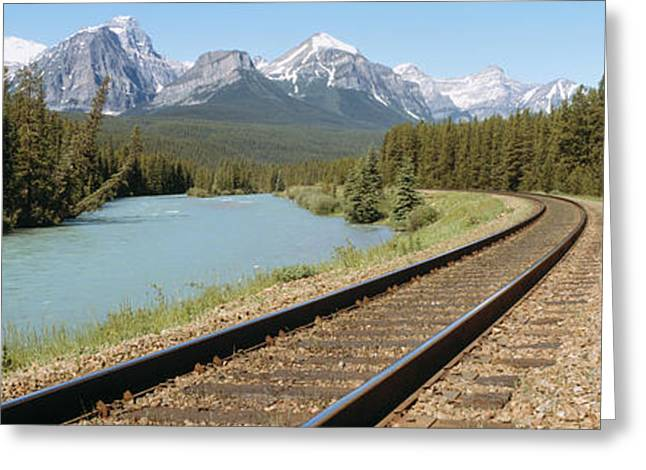Railroad Tracks Bow River Alberta Canada Greeting Card by Panoramic Images