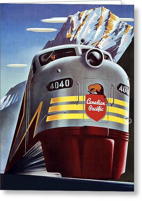 Railroad Travel Poster Greeting Card by Allen Beilschmidt