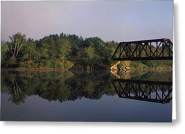 Railroad Trestle On Connecticut River Greeting Card by Panoramic Images
