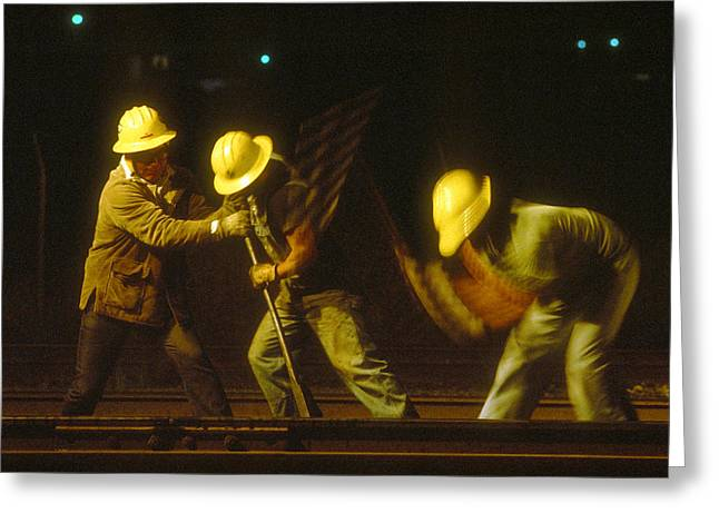 Greeting Card featuring the photograph Railroad Workers by Mark Greenberg
