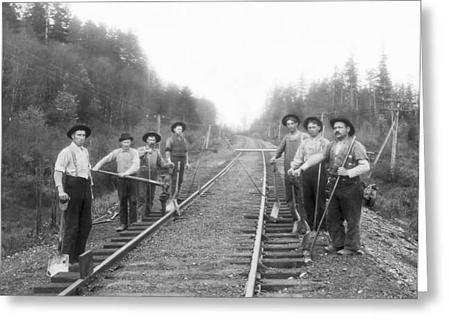 Railroad Workers Greeting Card by Underwood Archives