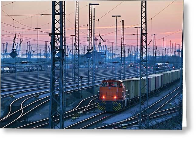 Railway At Dusk Greeting Card