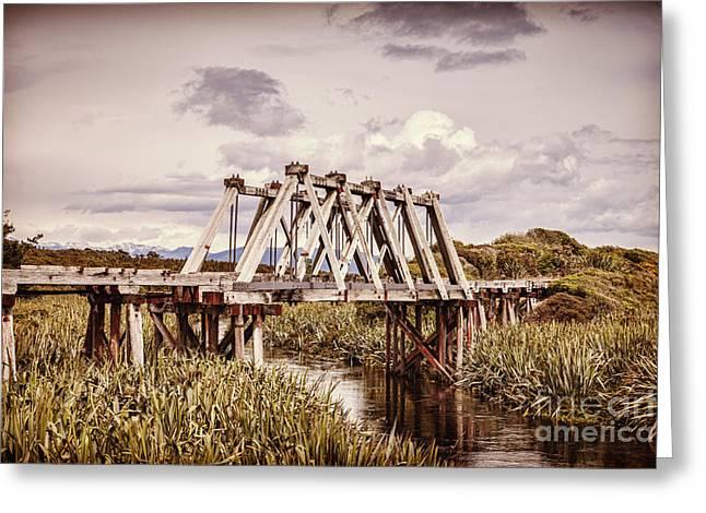 Railway Bridge At Mahinapua Creek Greeting Card