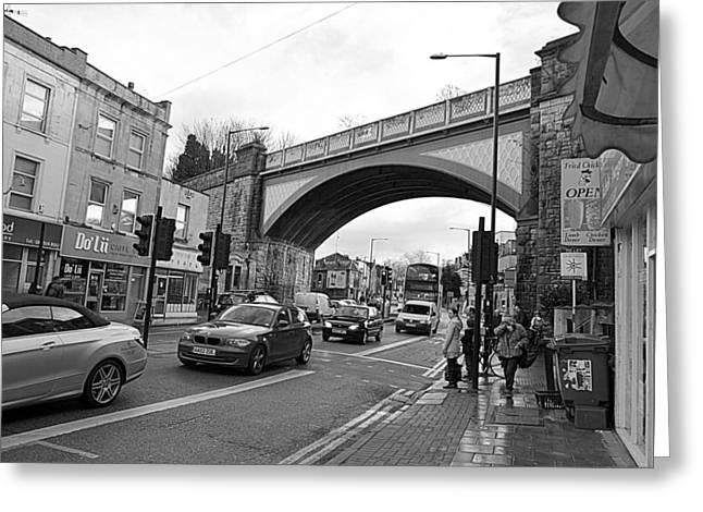 Railway Bridge Greeting Card by Bishopston Fine Art