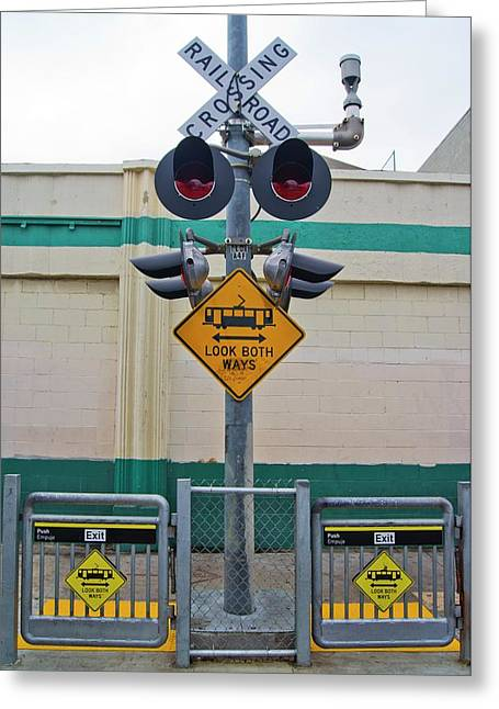 Railway Crossing In Downtown Los Angeles. Greeting Card by Mark Williamson