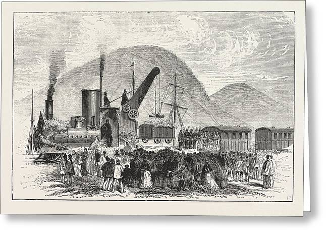 Railway Enterprise In New Zealand, Hoisting The First Truck Greeting Card by New Zealand School