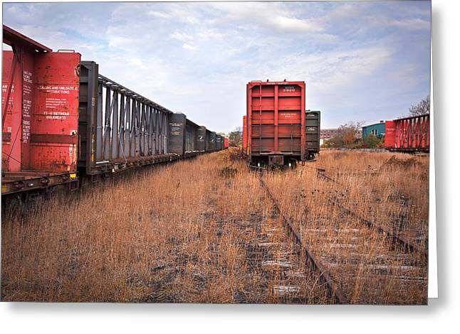 Railyard Greeting Card by Eric Gendron