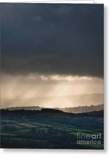 Rain Clouds Over Dartmoor Greeting Card by Jan Bickerton