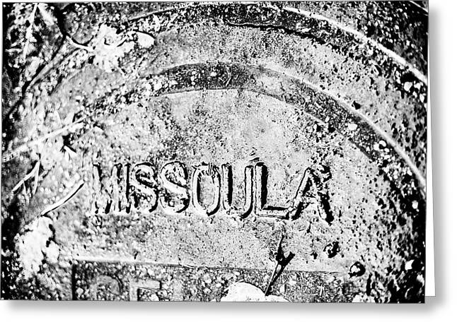 Rain Covered Manhole Cover In Missoula Greeting Card